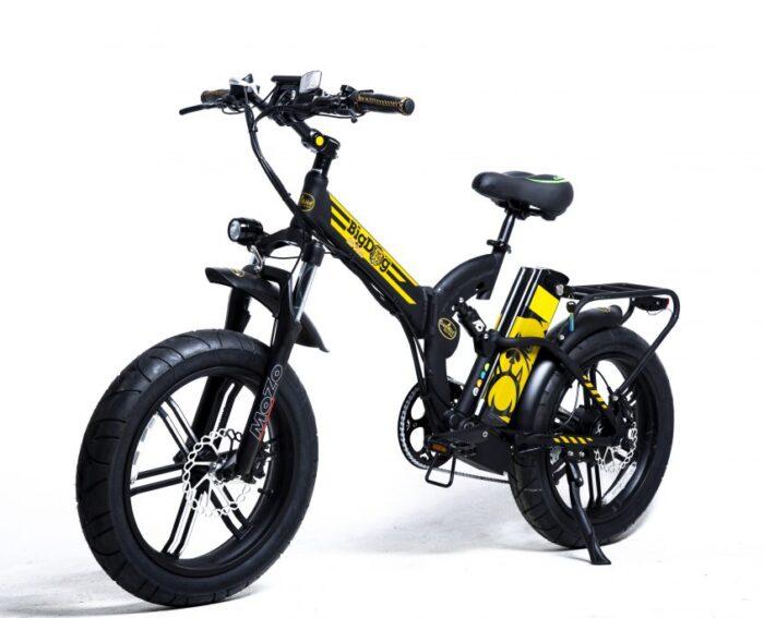 """אופניים חשמליים ביג דוג אוף רוד שטח/כביש שיכוך מלא 48V 16AH, גלגלים רחבים 4"""" מגנזיום - מכירה פומבית"""